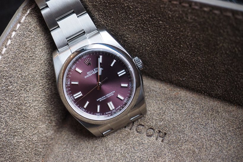 The Replica Rolex Oyster 36 styled with Red Grape Dial