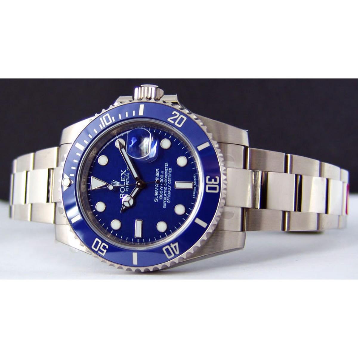 A Rolex Submariner Replica timepiece with Blue Dial ...